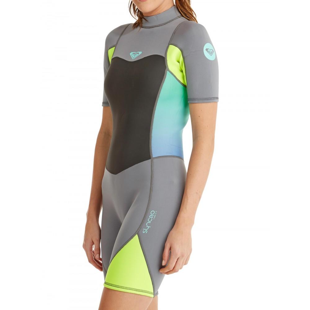 Womens 2/2mm Syncro Short Sleeve Back Zip Springsuit Wetsuit ARJW503007 Roxy