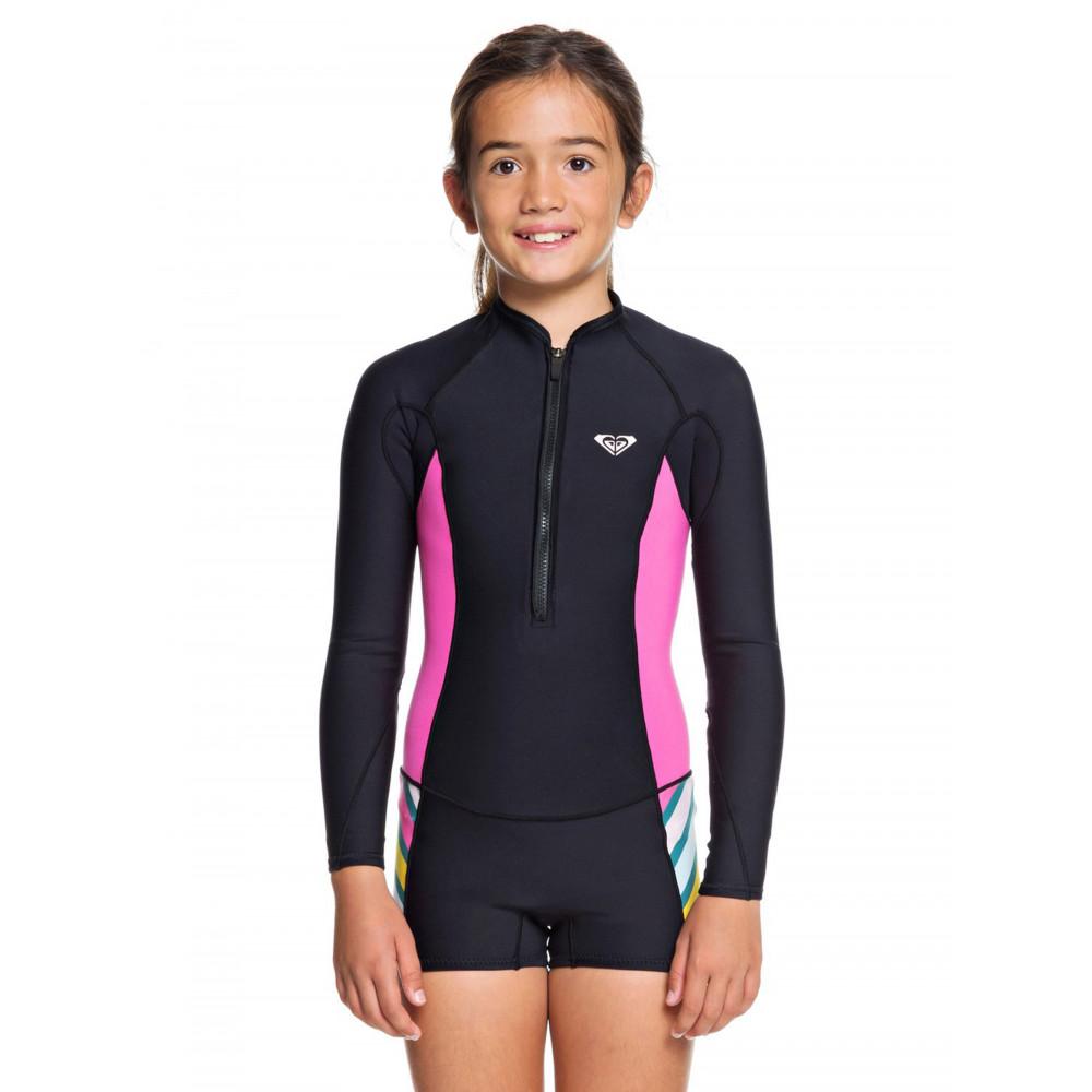 Girls 8-14 POP Surf 1.5mm LS Front Zip Shorty Springsuit Wetsuit ERGW403006 Roxy
