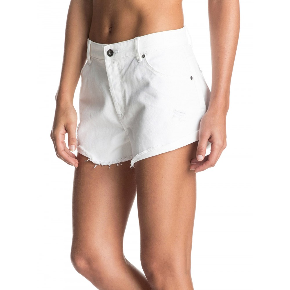 Womens My Boyfriend White Denim Short ERJDS03089 Roxy