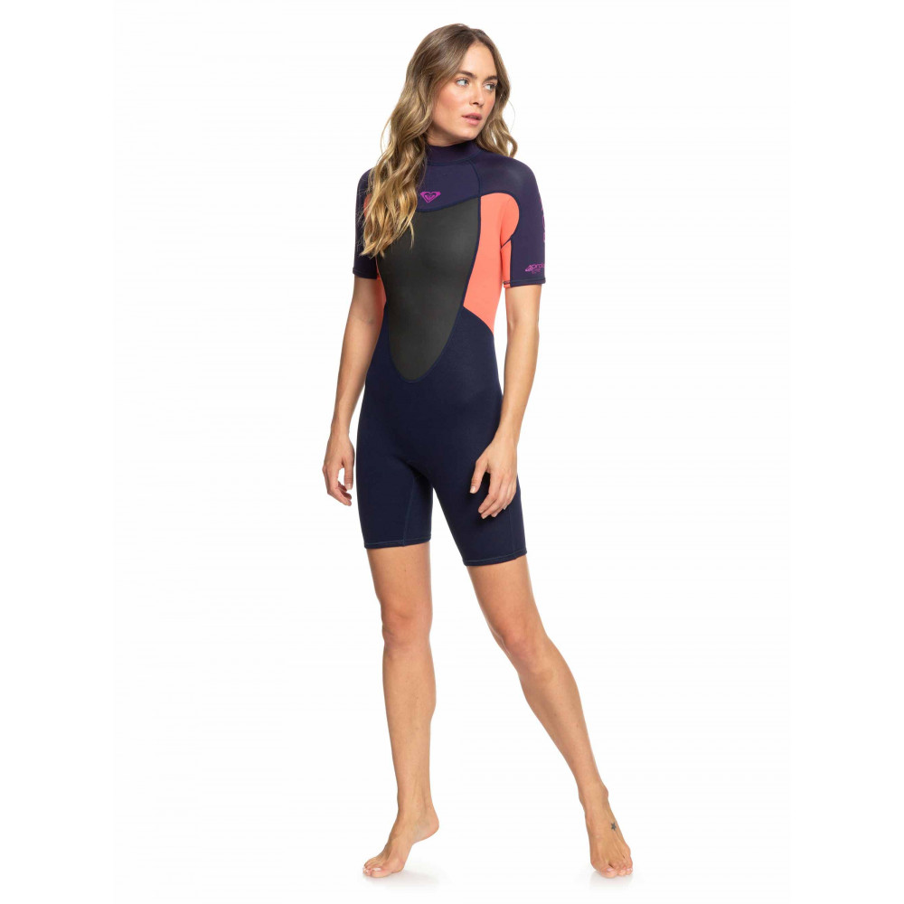 Womens 2/2mm Prologue Short Sleeve Back Zip Springsuit Wetsuit ERJW503010 ROXY