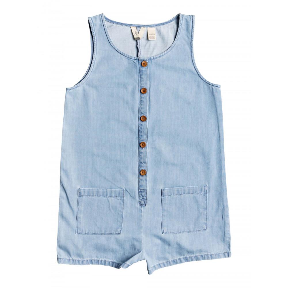 Girls 4-14 Morning Light Lightweight Buttoned Denim Playsuit