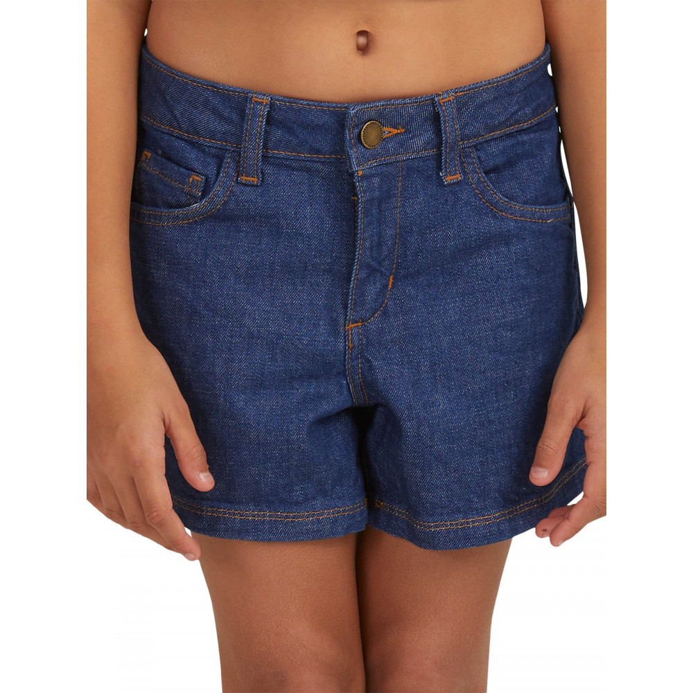 Girls 4-14 Just Be Happy High Waisted Denim Shorts