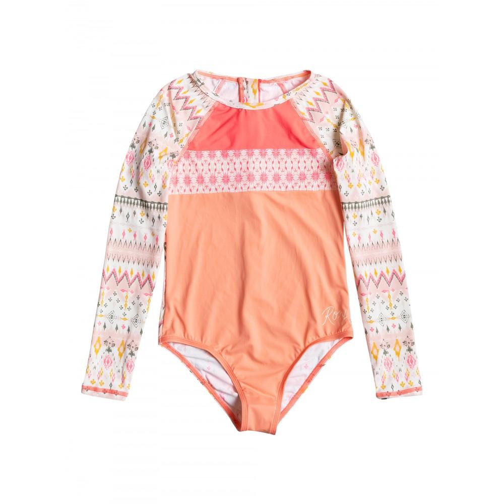 Girls 8-14 Sayra Stripe Long Sleeve Onesie Swimsuit