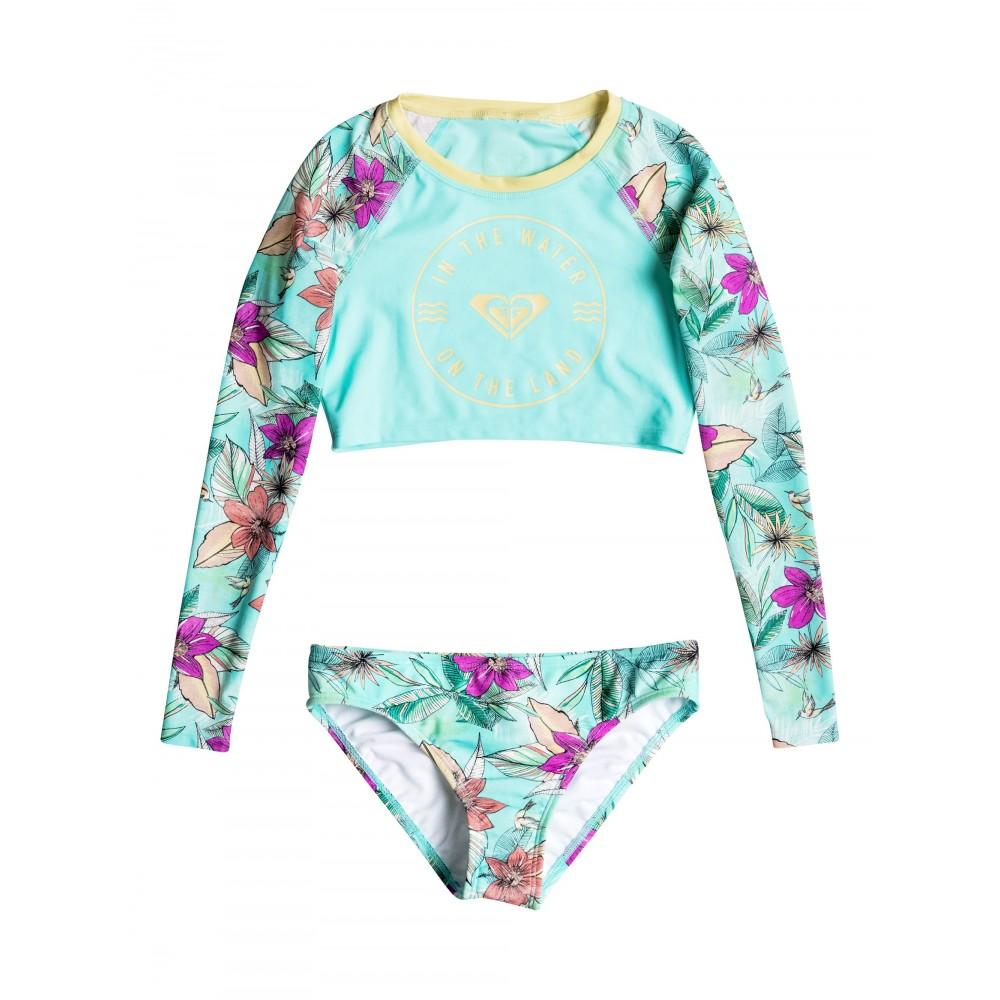 Girls 8-14 Hawaiian Paradise Long Sleeve Crop Rash Vest Set