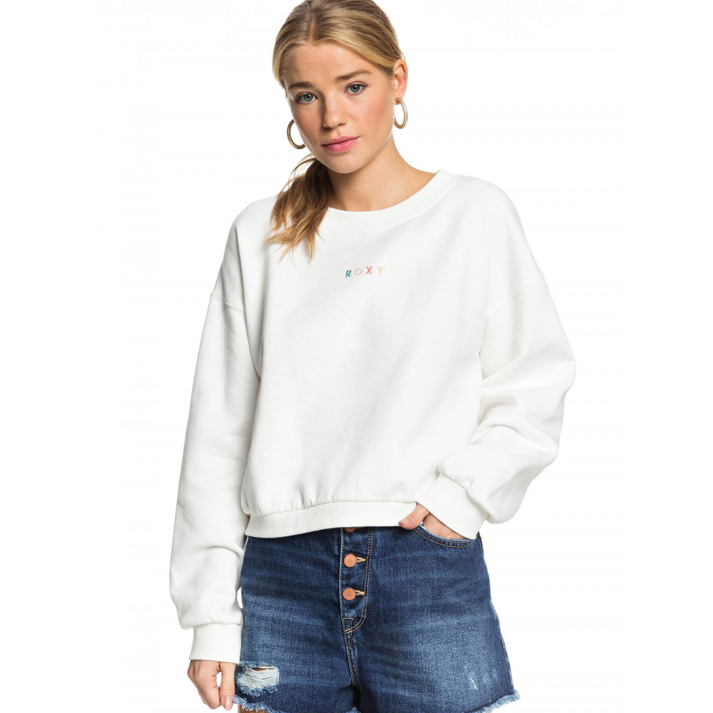 Womens Sunset Session Cropped Fleece Crew Jumper