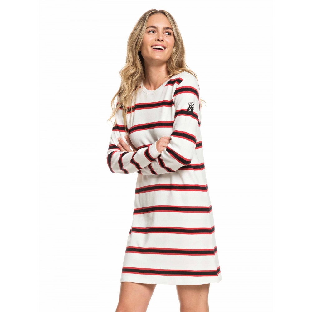 Womens Lonely Together Long Sleeved Striped T Shirt Dress