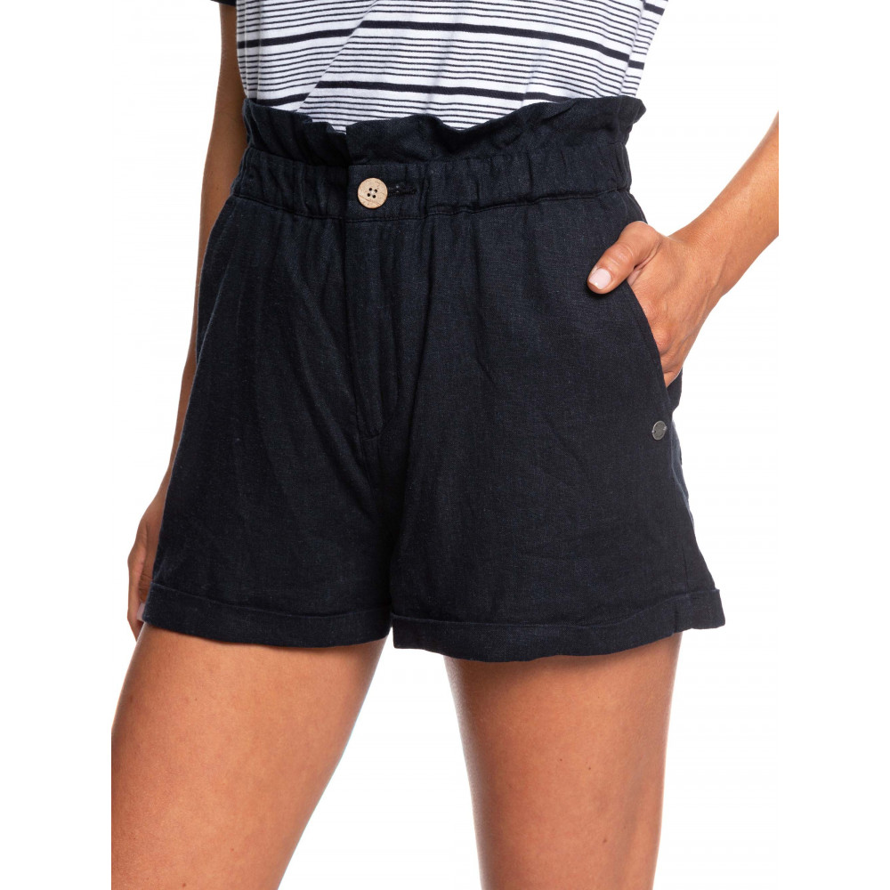 Womens Playa Privada High Waist Linen Shorts