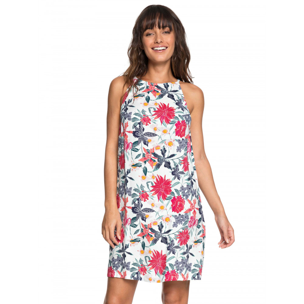 Womens City Shield Floral Print Strappy Dress
