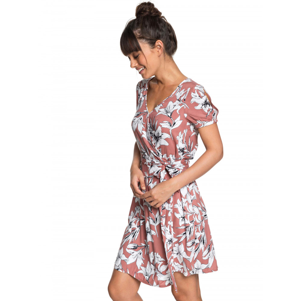 Womens Monument View Floral Print Mini Wrap Dress