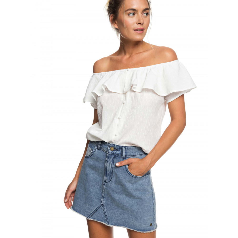 Womens Desert Escape Off-The-Shoulder Ruffle Top