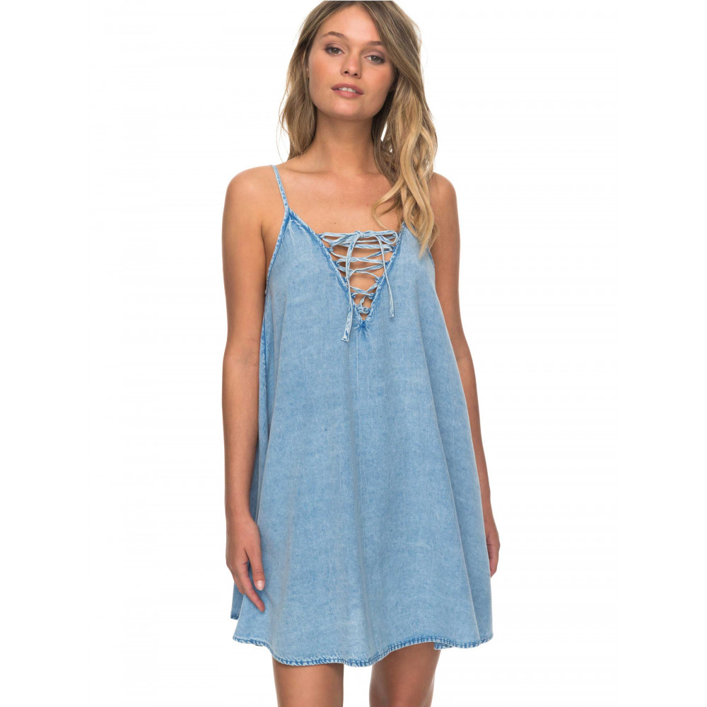 Womens Softly Love Chambray Strappy Overswim Dress