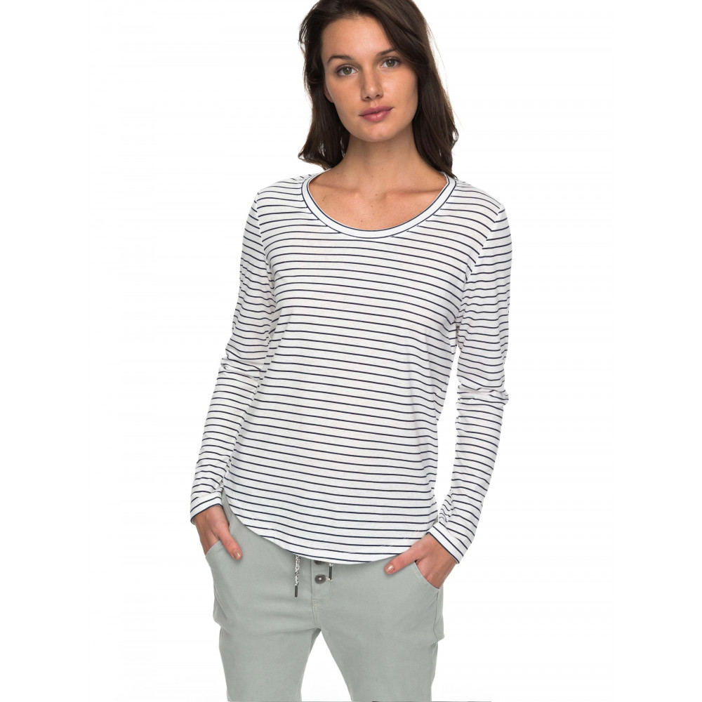 Womens Just Simple Stripe Long Sleeve T Shirt