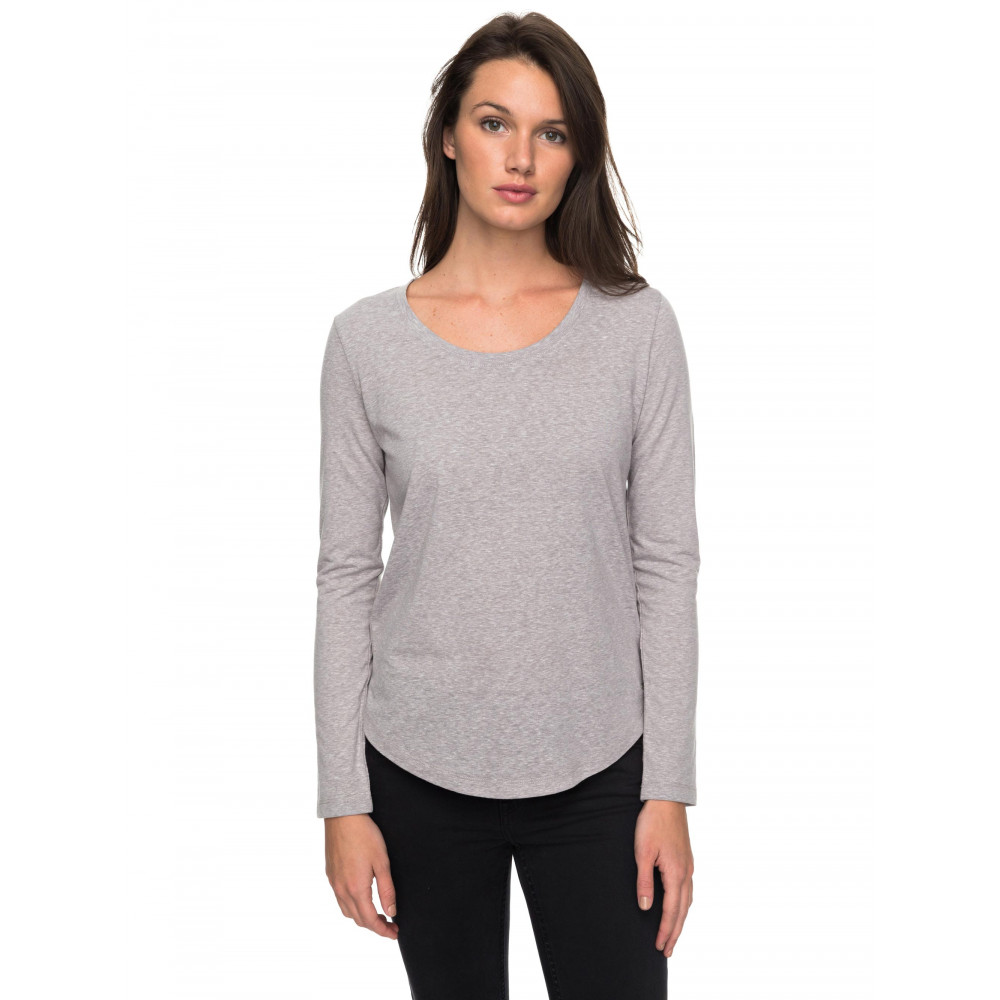 Womens Just Simple Solid Long Sleeve T Shirt
