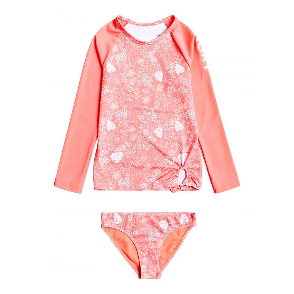 Girls 2-7 Happiness Long Sleeve UPF 50 Lycra Rash Vest Swimsuit Set
