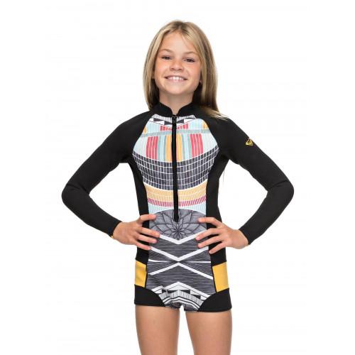 Girls 8-14 1mm Pop Surf Long Sleeve Front Zip Springsuit Wetsuit
