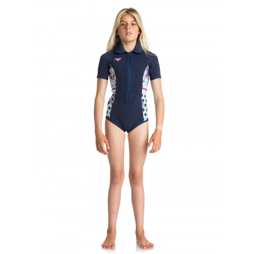 Girls 8-16 Pop Surf 2mm Short Sleeved Front Zip Springsuit Wetsuit