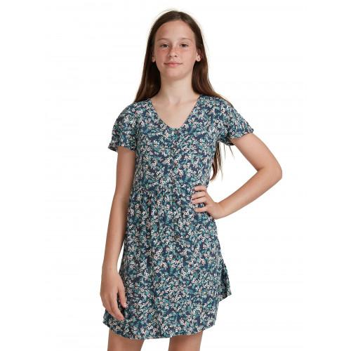 Girls 8-14 Third Of Way Short Sleeve Buttoned Dress