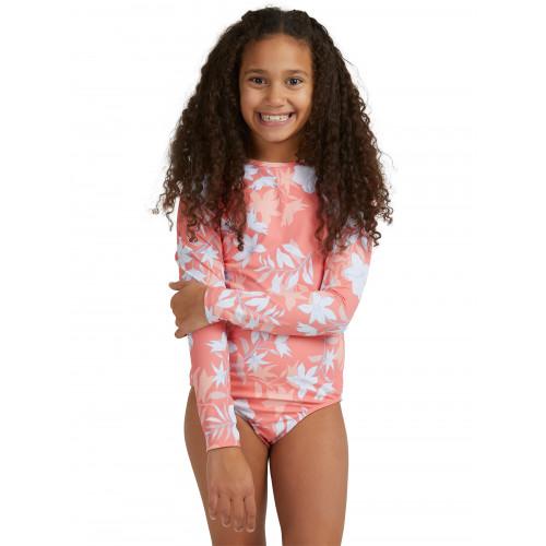 Girls 8-14 Bloom Paradise Long Sleeve One Piece Rash Vest
