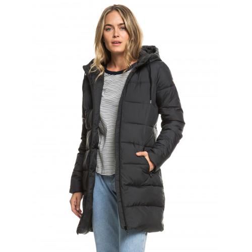 Womens Evening Shadow Longline Hooded Puffer Jacket