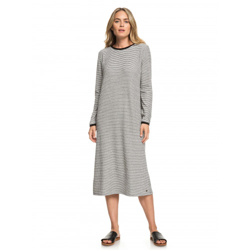 Womens Last Impression Long Sleeved Ribbed Midi Dress